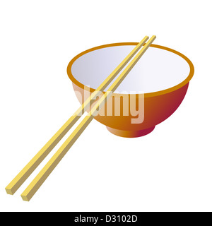 Tazza di ceramica con bastoni di legno. illustrazione. Foto Stock
