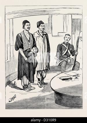 La GUERRA IN EGITTO: A BORDO H.M.S. 'SEAGULL', i primi prigionieri introdotti dopo l'INNESTO A CHALOUF, Augusto Foto Stock