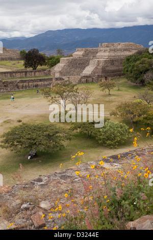 Zapoteco rovine di Monte Albán, Oaxaca, Messico. Foto Stock