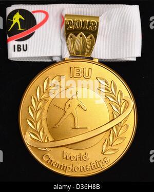 La medaglia d'oro per il 2013 Campionati Mondiali di Biathlon sono ritratte in Nove Mesto na Morave, Repubblica Foto Stock