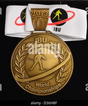 La medaglia di bronzo per il 2013 Campionati Mondiali di Biathlon sono ritratte in Nove Mesto na Morave, Repubblica Foto Stock