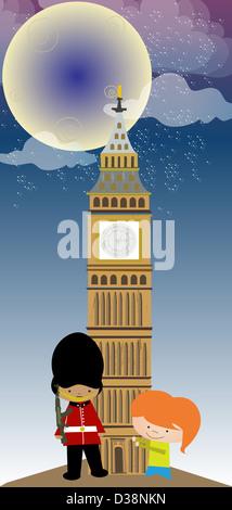 Ragazza in piedi con un onore di guardia di fronte a una torre dell'orologio, il Big Ben, la Casa del Parlamento, Foto Stock