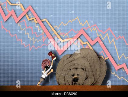 Rappresentazione illustrativa che mostra stock market crash Foto Stock