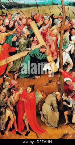 Hieronymus Bosch, il Cristo che porta la croce (Vienna) Circa 1500 Olio su legno. Kunsthistorisches Museum di Vienna, Austria Foto Stock