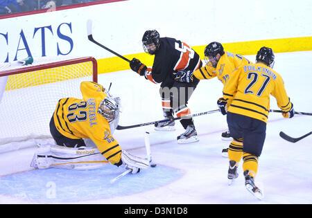 Hamden CT USA--Quinnipiac Vs Princeton hockey gioco di azione. Foto Stock