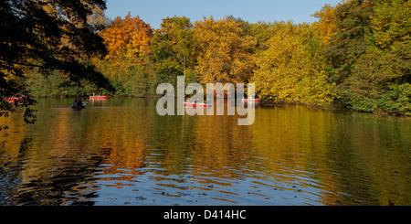 Il lago in Tiergarten in autunno, Berlino Centro Berlino, Germania Foto Stock