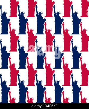 Illustrazione della statua della libertà pattern senza giunture Foto Stock