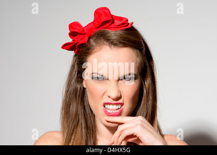 donna arrabbiata Foto Stock