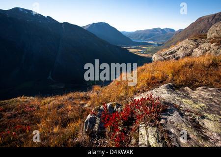 Valle Romsdalen visto da Litlefjellet, Rauma kommune, Møre og Romsdal, Norvegia. Foto Stock
