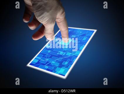 Toccando lo schermo (con percorso di clipping) Foto Stock