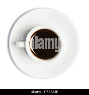 Tazza di caffè isolato su bianco Foto Stock
