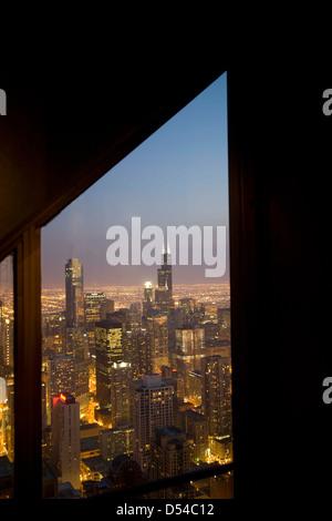 Chicago e sul Lago Michigan dalla 94th piano del John Hancock Building, Chicago, Illinois Foto Stock