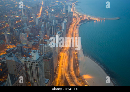 Chicago e sul Lago Michigan dalla 94th piano del John Hancock Building, Chicago, Illinois Foto Stock