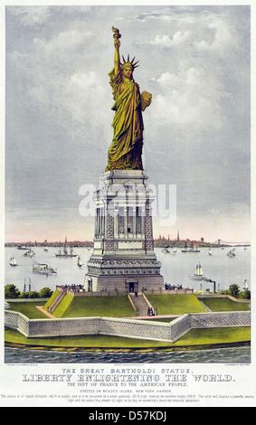 La statua della libertà 1885 litografia da noi responsabili stampa Currier e Ives Foto Stock