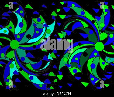 Moderno e colorato disegno astratto in verde e blu su sfondo nero con motivi geometrici e perfetto per gli sfondi. Foto Stock