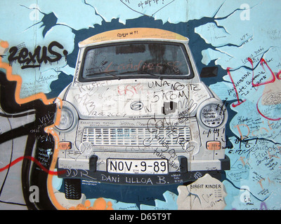 Trabant,gdr,caduta del muro di Berlino, la East side gallery Foto Stock