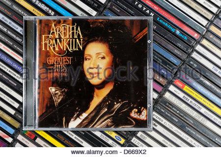 Aretha Franklin greatest hits album, impilati CD musicale casi, Inghilterra Foto Stock