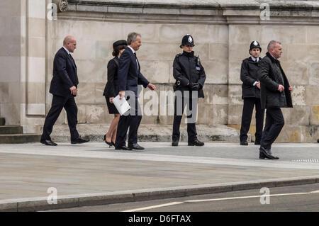 Ex primo ministro Tony Blair e Cherie Blair lasciare il servizio funebre della Baronessa Margaret Thatcher presso la Cattedrale di St Paul, Londra, Inghilterra, Regno Unito