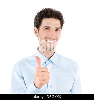 Close-up verticale di un bel successo imprenditore che sorride e mostra un pollice fino al gesto della fotocamera. Foto Stock