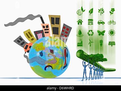 Tasto per andare verde, il concetto chiave di energia alternativa ecologia concetto di potere di vento alternativa eco ecologico ecologia elettricità