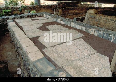 Mosaico sotto la chiesa di San Pietro a Cafarnao Foto Stock