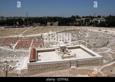 Ricostruita secondo tempio come parte del modello di antica Gerusalemme, esposte presso il Museo di Israele Foto Stock