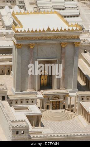Ricostruita secondo tempio come parte del modello di antica Gerusalemme Foto Stock