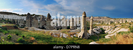 Cappadocia paesaggio con rocce di origine vulcanica e abitazioni scavate nella roccia. (Villaggio di Goreme). Valle Foto Stock