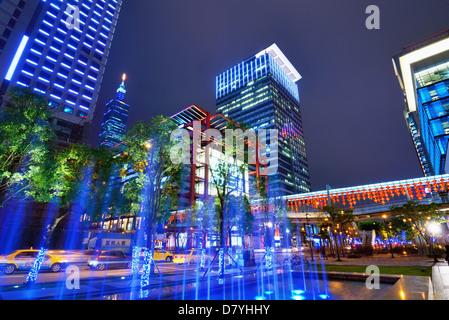 Xinyi distretto di Taipei, Taiwan. Foto Stock