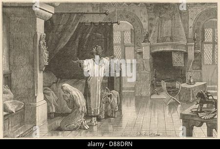 Pregando Medieval Foto Stock