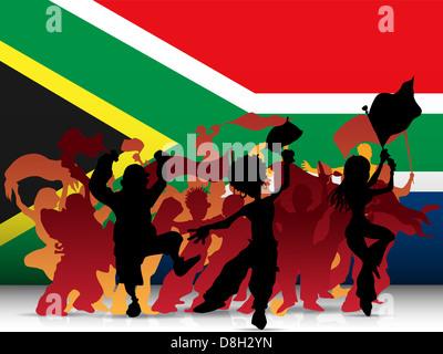 Vettore - Sud Africa Sport folla della ventola con bandiera