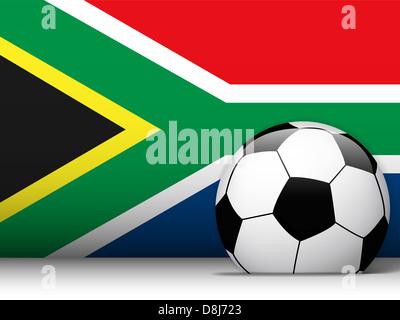 Vettore - Sud Africa Pallone da calcio con sfondo di bandiera