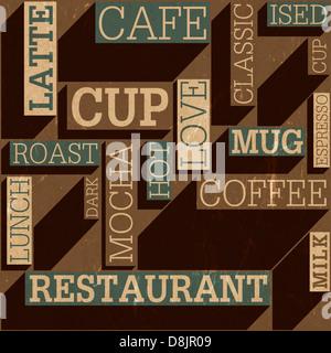 Il caffè a tema retrò seamless sfondo, Foto Stock