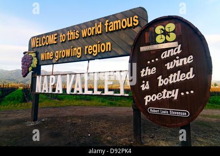 Segno di benvenuto a Napa Valley, Calistoga, California