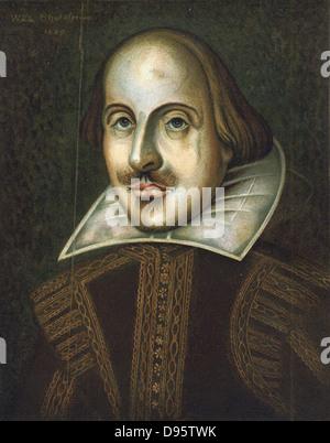 William Shakespeare (1564-1616) drammaturgo inglese. Anonimo ritratto in oli datata 1609. Questo è il ritratto inciso Foto Stock