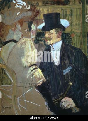 L'inglese (William Warrener) presso il Moulin Rouge' 1892: da Henri de Toulouse- Lautrec (1864-1901) francese pittore, disegnatore e illustratore. Olio su cartone. Foto Stock