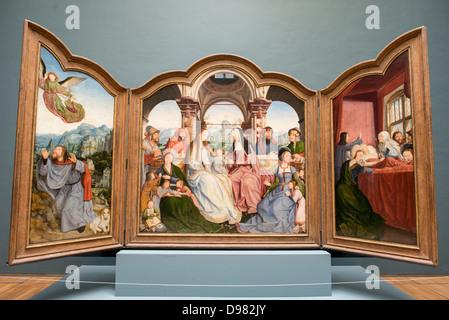 Bruxelles, Belgio - Un inizio XVI secolo trittico di Quinten Metsys (165/66-1530) intitolato Triptyque de la Confrerie Foto Stock
