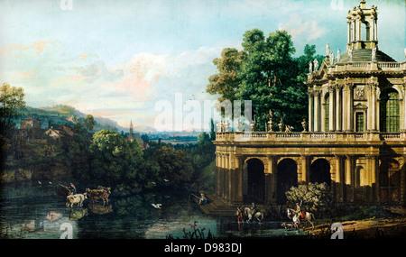 Bernardo Bellotto, chiamato il Canaletto, Capriccio architettonico con un Palazzo 1765-1766 Olio su tela. Museo Foto Stock