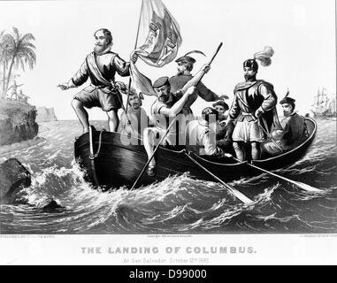 Lo sbarco di Colombo a San Salvador, 12 ottobre 1492. Columbus in piedi in prua della barca holding bandiera spagnola. Foto Stock