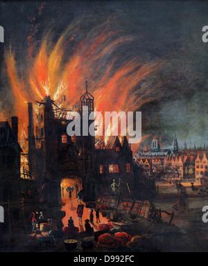 Il Grande Incendio di Londra, 2-5 settembre 1666. Sulla sinistra la gente sta salvando ciò che possono da un edificio Foto Stock