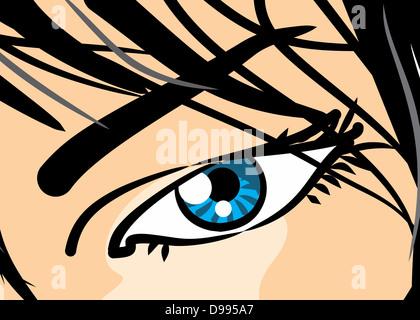 Stile fumetto illustrazione di una bella donna occhio, in close-up