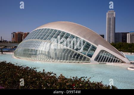 L'hemisferic città delle arti e delle scienze Ciutat de les Arts i les Ciencies valencia spagna Foto Stock