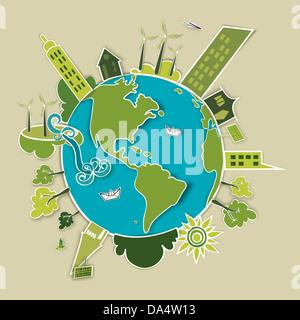 Go green concept mondo. L'industria lo sviluppo sostenibile con la conservazione ambientale Globe. Illustrazione Vettoriale stratificata di file per una facile manipolazione