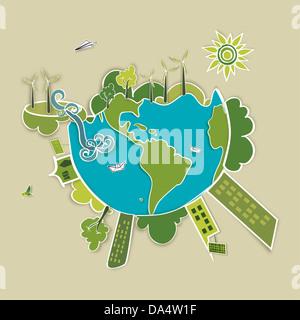 Vai mondo verde. L'industria lo sviluppo sostenibile con la conservazione ambientale illustrazione dello sfondo. File vettoriale stratificata per una facile manipolazione di un
