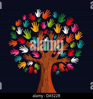 Diversità colorato tree mani illustrazione. Illustrazione Vettoriale stratificata per una facile manipolazione e Foto Stock