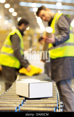 Lavoratori controllo pacchetti sul nastro trasportatore in magazzino Foto Stock