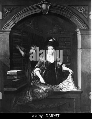 Commercio, negozi, signora in un negozio, pittura, da Johann Jakob Dorner il sambuco, (1741 - 1813), fine XVIII Foto Stock
