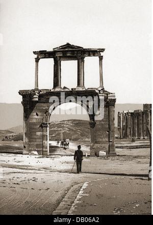 Geografia / viaggi, Grecia, Atene, l'Arco di Adriano, visualizzare il disegno, fine del XIX secolo, Romana arco Foto Stock