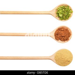 Raccolta di spezie in cucchiai di legno(coriandolo, zenzero, noce moscata) Foto Stock