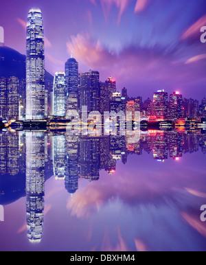Hong Kong Cina skyline da Victoria Harbour. Foto Stock